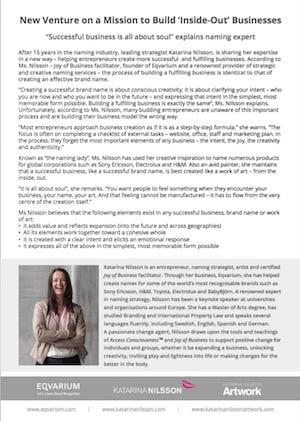 Press release Katarina Nilsson